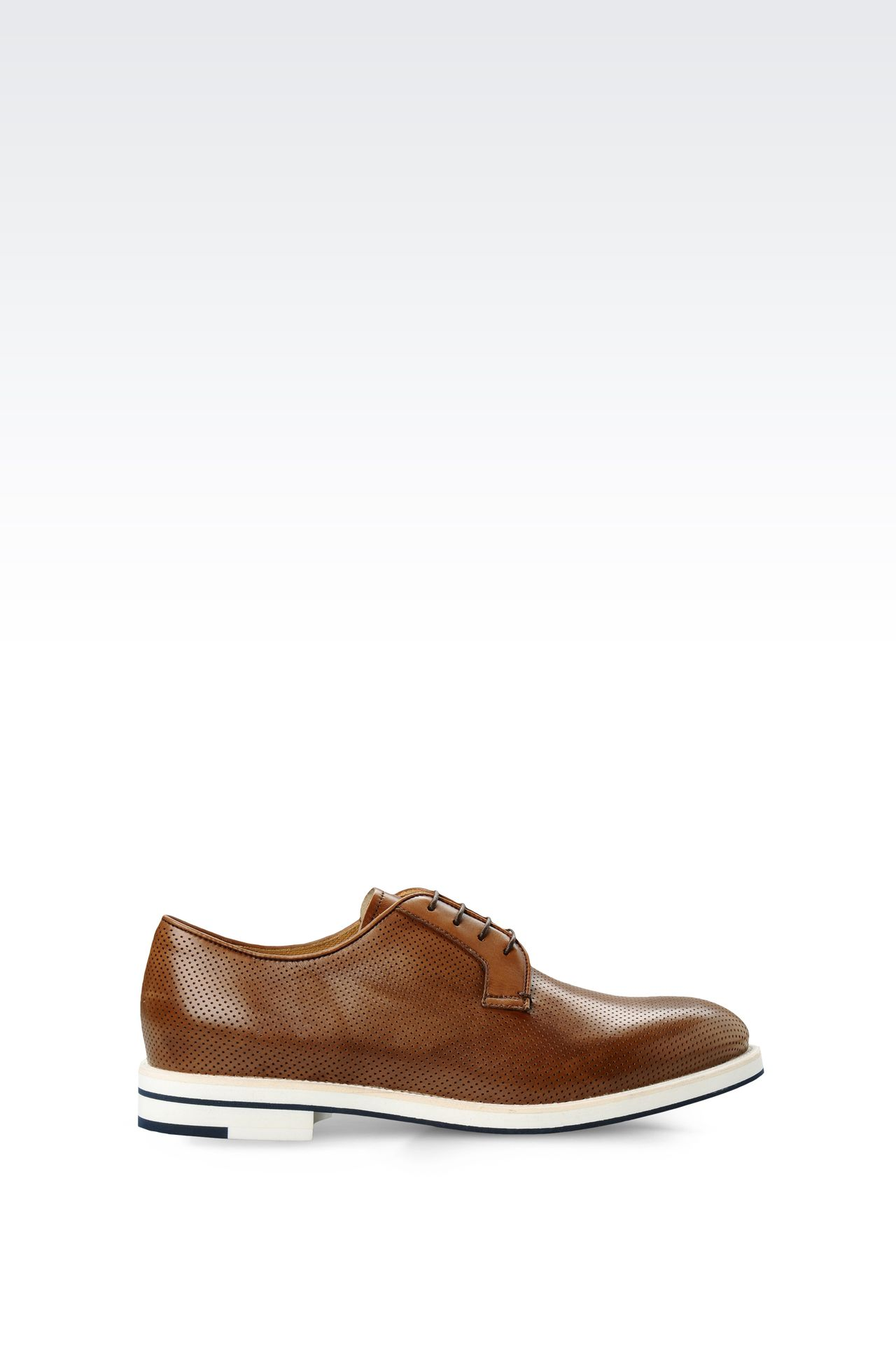DERBY IN MICRO PERFORATED LEATHER: Lace-up shoes Men by Armani - 0