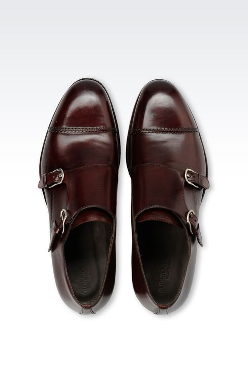 LEATHER MONKSTRAP WITH LEATHER SOLE: Moccasins Men by Armani - 3