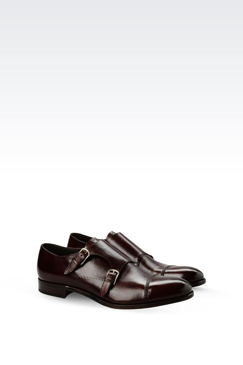LEATHER MONKSTRAP WITH LEATHER SOLE: Moccasins Men by Armani - 2