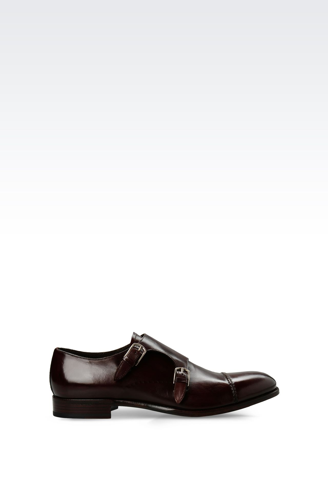 LEATHER MONKSTRAP WITH LEATHER SOLE: Moccasins Men by Armani - 0