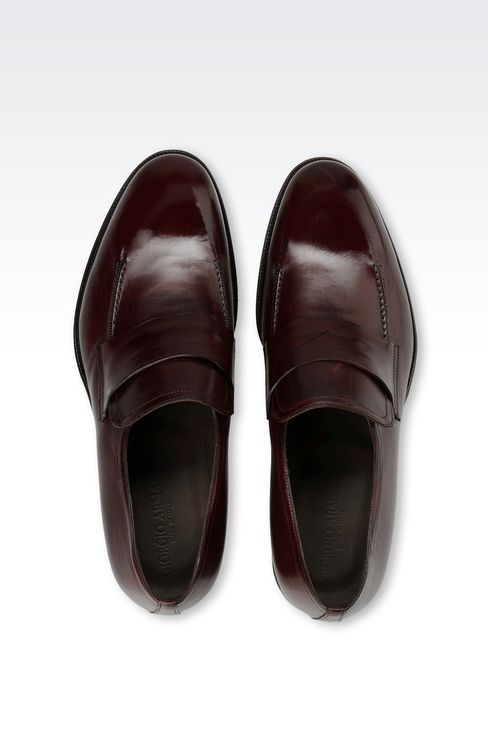 LEATHER LOAFER WITH LEATHER SOLE: Moccasins Men by Armani - 3