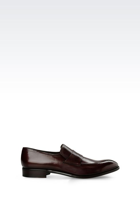 LEATHER LOAFER WITH LEATHER SOLE: Moccasins Men by Armani - 1
