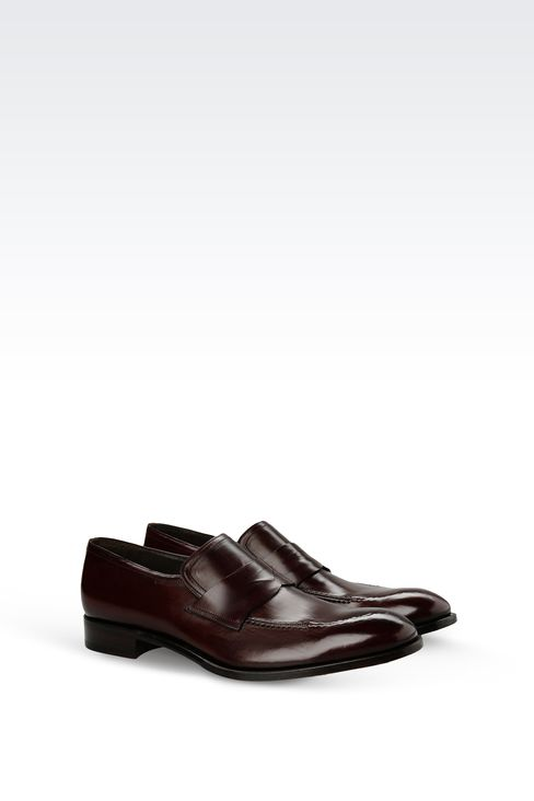 LEATHER LOAFER WITH LEATHER SOLE: Moccasins Men by Armani - 2