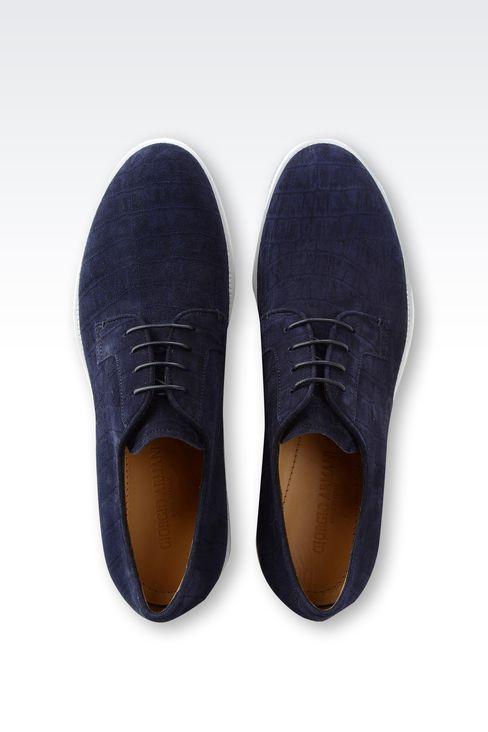 CROCODILE PRINT SUEDE DERBY: Lace-up shoes Men by Armani - 3