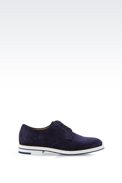 CROCODILE PRINT SUEDE DERBY: Lace-up shoes Men by Armani - 1