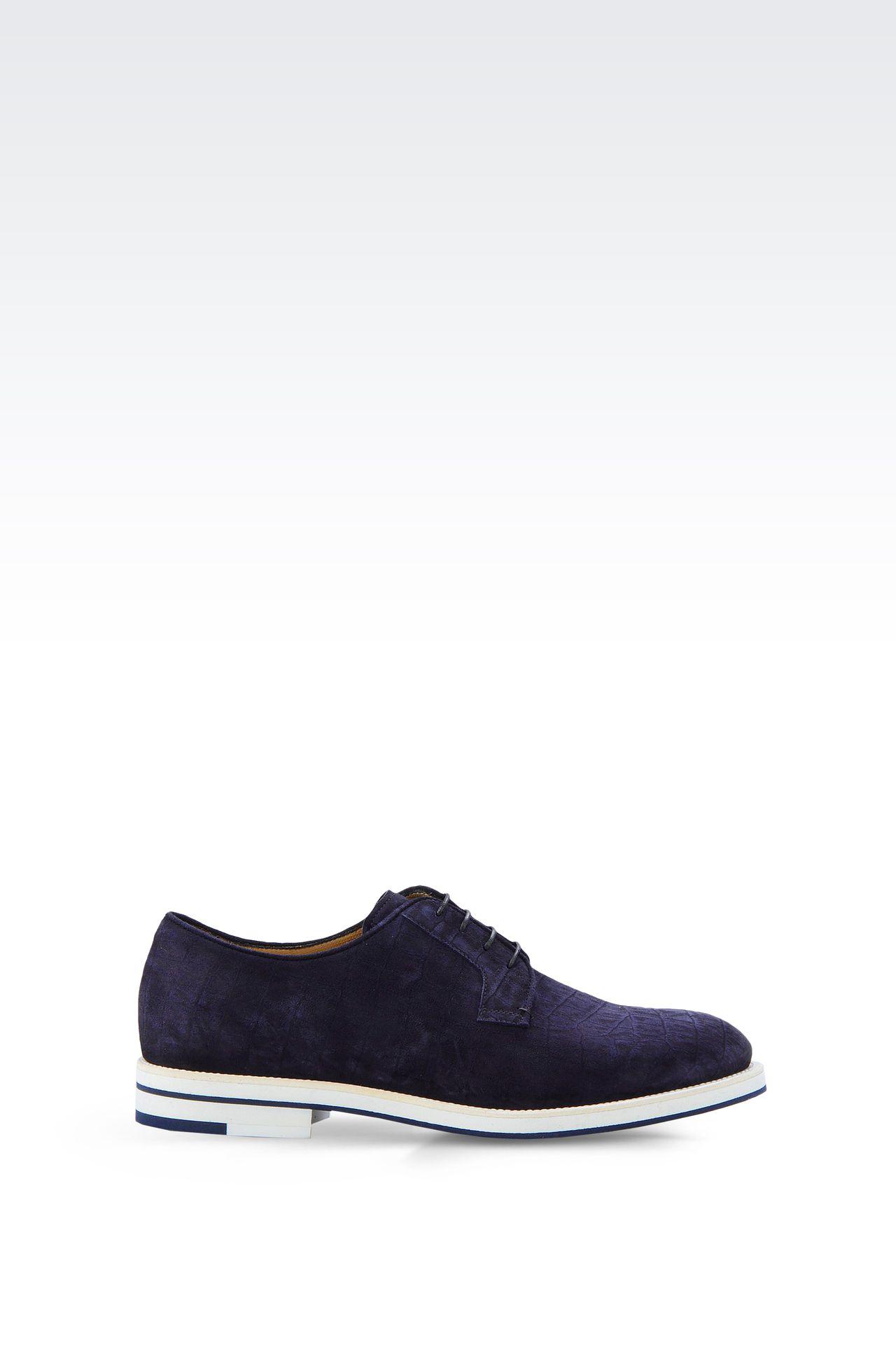CROCODILE PRINT SUEDE DERBY: Lace-up shoes Men by Armani - 0