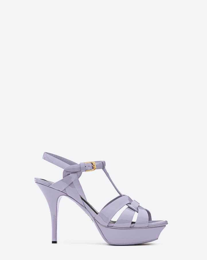 saintlaurent, Classic Tribute 75 Sandal in Lilac Patent Leather