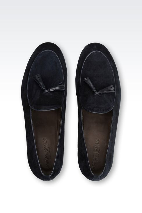 SUEDE MOCCASINS WITH BADGE : Moccasins Men by Armani - 3