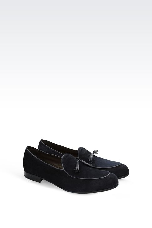 SUEDE MOCCASINS WITH BADGE : Moccasins Men by Armani - 2