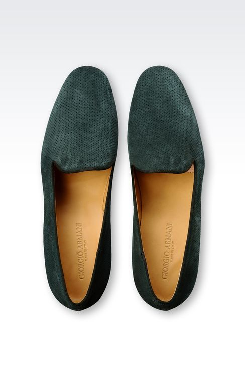 MICRO-PERFORATED SUEDE SLIP ONS: Moccasins Men by Armani - 3