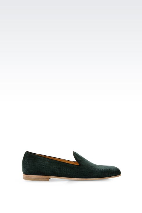 MICRO-PERFORATED SUEDE SLIP ONS: Moccasins Men by Armani - 1
