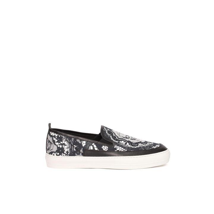 Alexander McQueen, Skull Lace Print Slip On Sneaker
