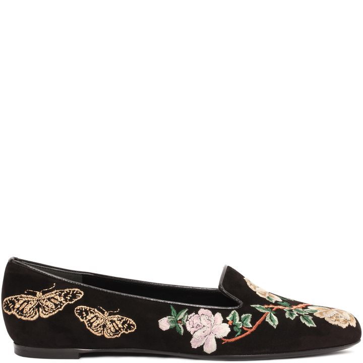Floral Butterfly Embroidered Slipper Alexander McQueen ...