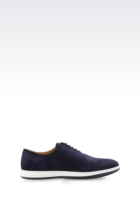 SUEDE DERBY WITH RUBBER SOLE: Lace-up shoes Men by Armani - 1