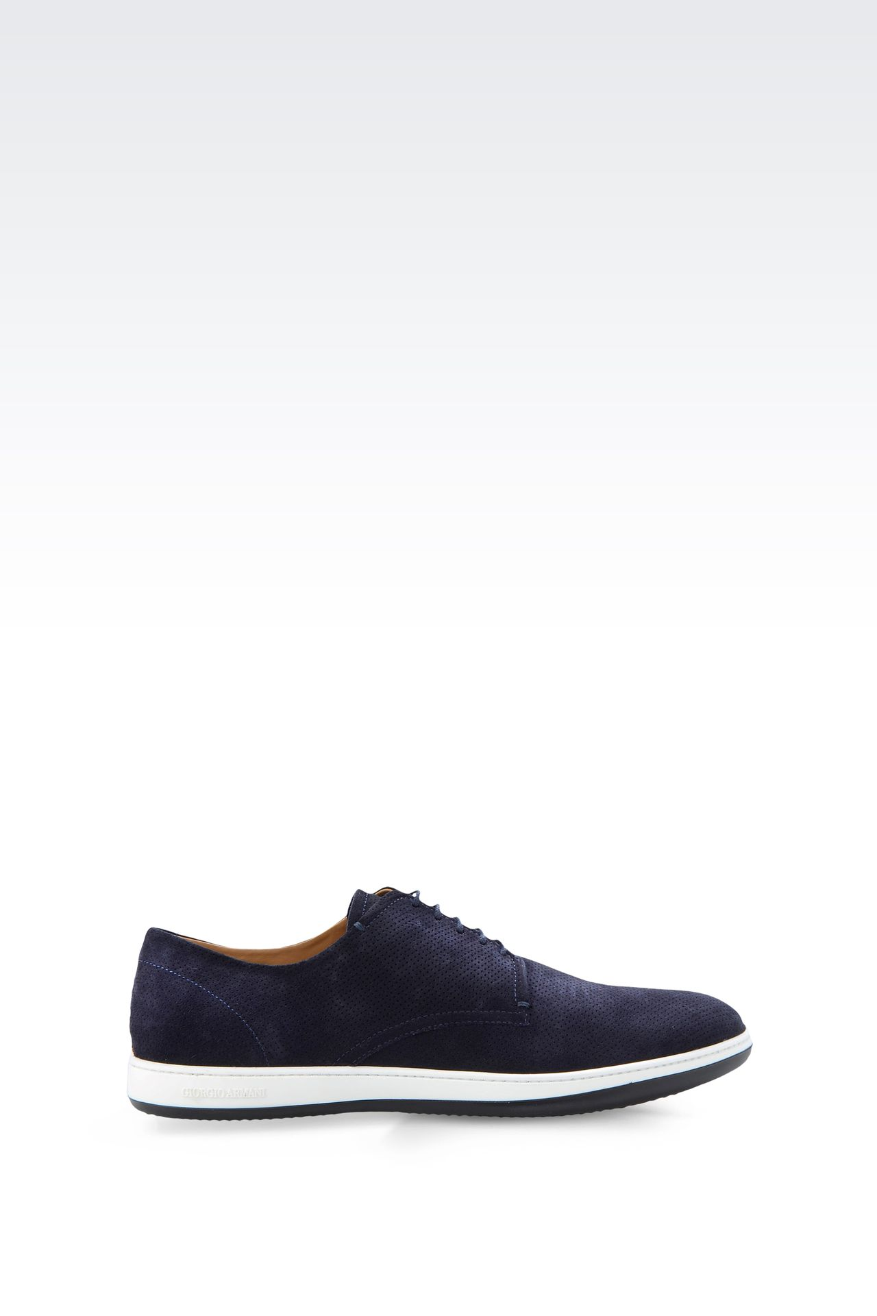 SUEDE DERBY WITH RUBBER SOLE: Lace-up shoes Men by Armani - 0