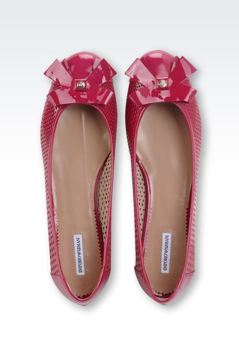 BALLET FLAT IN PERFORATED PATENT LEATHER: Ballet flats Women by Armani - 3