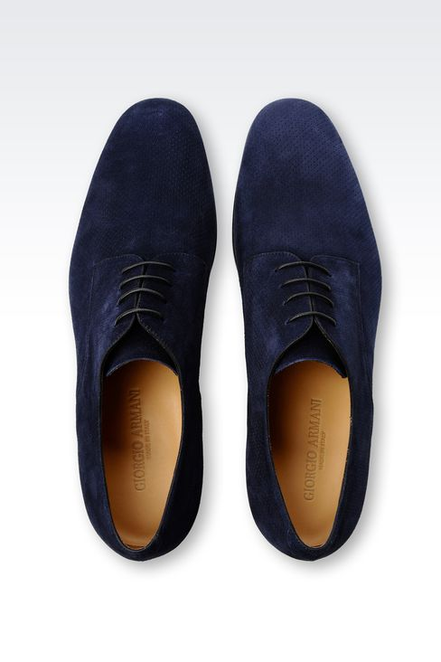 DERBY SHOE IN MICRO PERFORATED SUEDE: Lace-up shoes Men by Armani - 3