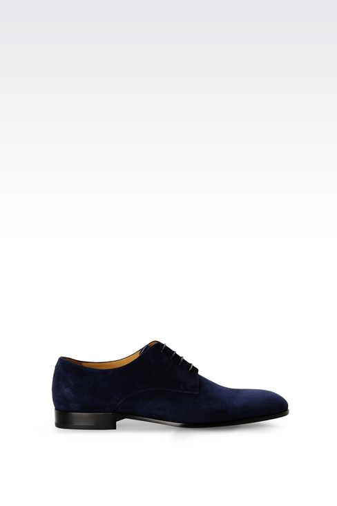 DERBY SHOE IN MICRO PERFORATED SUEDE: Lace-up shoes Men by Armani - 1