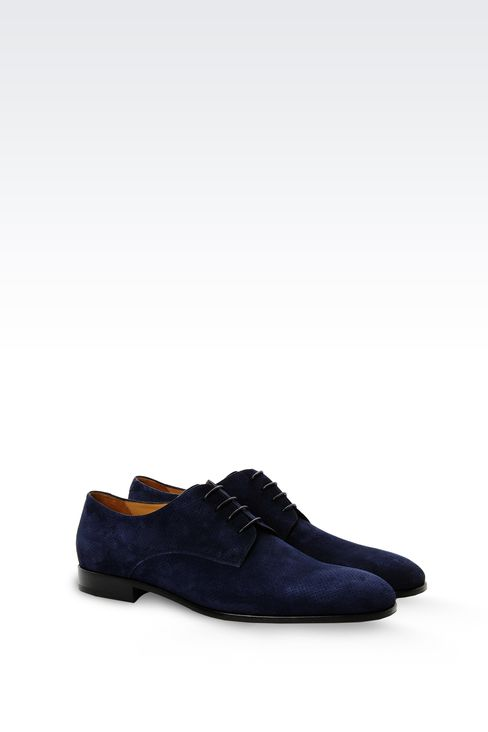 DERBY SHOE IN MICRO PERFORATED SUEDE: Lace-up shoes Men by Armani - 2