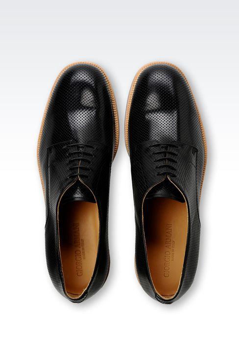 DERBY SHOE IN MICRO PERFORATED LEATHER: Lace-up shoes Men by Armani - 3