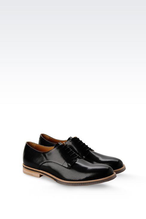 DERBY SHOE IN MICRO PERFORATED LEATHER: Lace-up shoes Men by Armani - 2