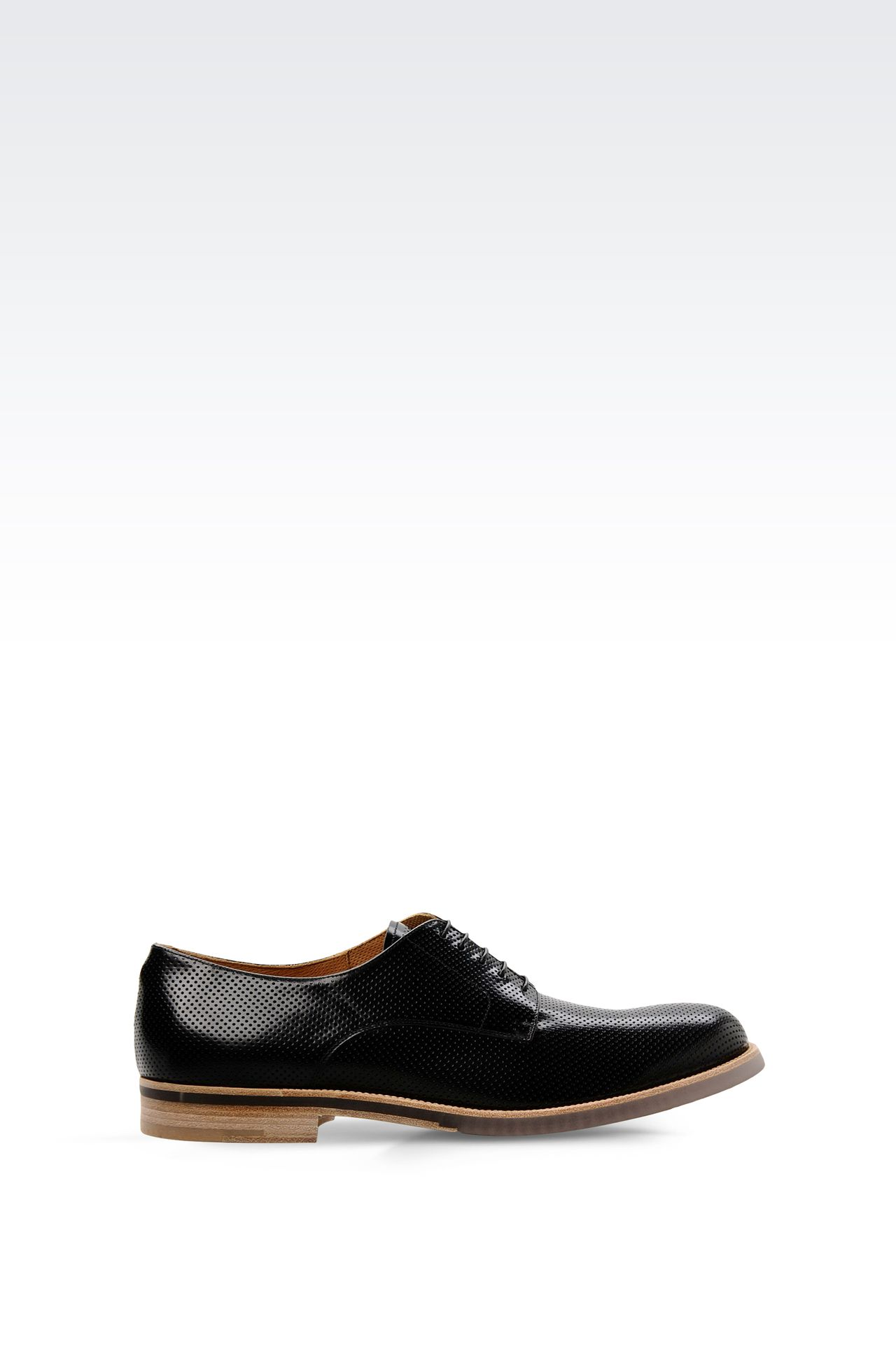 DERBY SHOE IN MICRO PERFORATED LEATHER: Lace-up shoes Men by Armani - 0