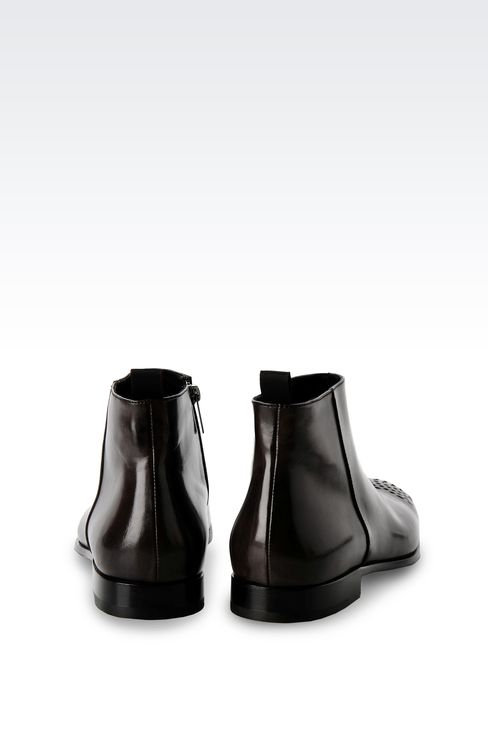 LEATHER ANKLE BOOT WITH ZIP CLOSURE: Ankle boots Men by Armani - 3