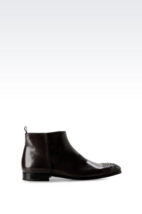 LEATHER ANKLE BOOT WITH ZIP CLOSURE: Ankle boots Men by Armani - 1