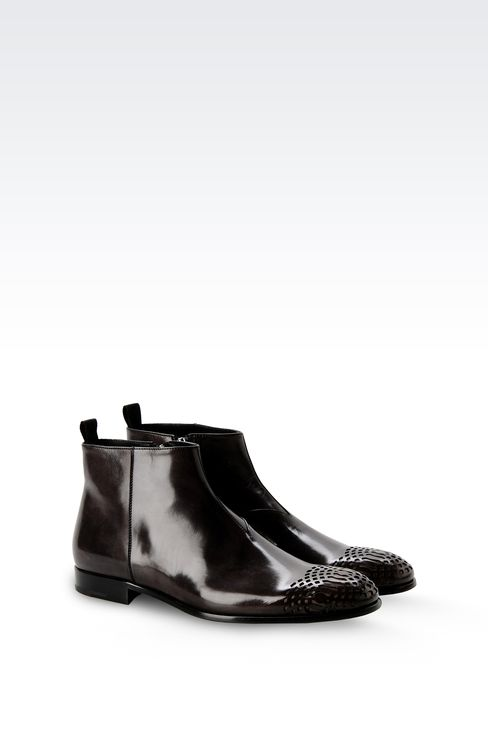 LEATHER ANKLE BOOT WITH ZIP CLOSURE: Ankle boots Men by Armani - 2