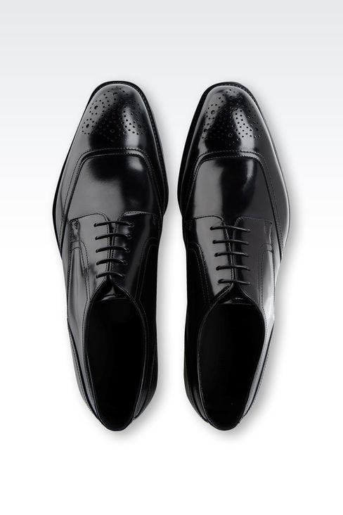 DERBY SHOE IN BRUSHED CALFSKIN WITH LASER WORK: Lace-up shoes Men by Armani - 3