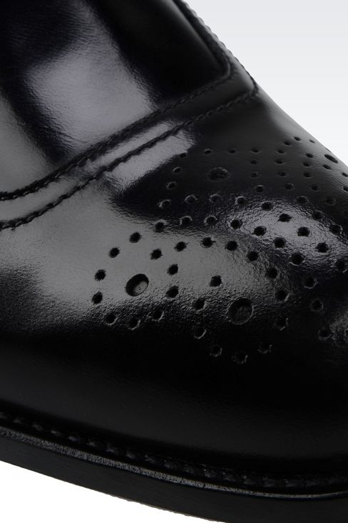 DERBY SHOE IN BRUSHED CALFSKIN WITH LASER WORK: Lace-up shoes Men by Armani - 4