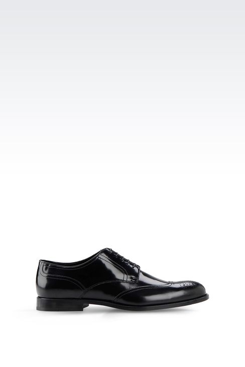 DERBY SHOE IN BRUSHED CALFSKIN WITH LASER WORK: Lace-up shoes Men by Armani - 1