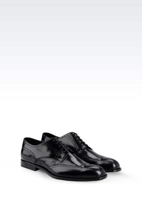 DERBY SHOE IN BRUSHED CALFSKIN WITH LASER WORK: Lace-up shoes Men by Armani - 2