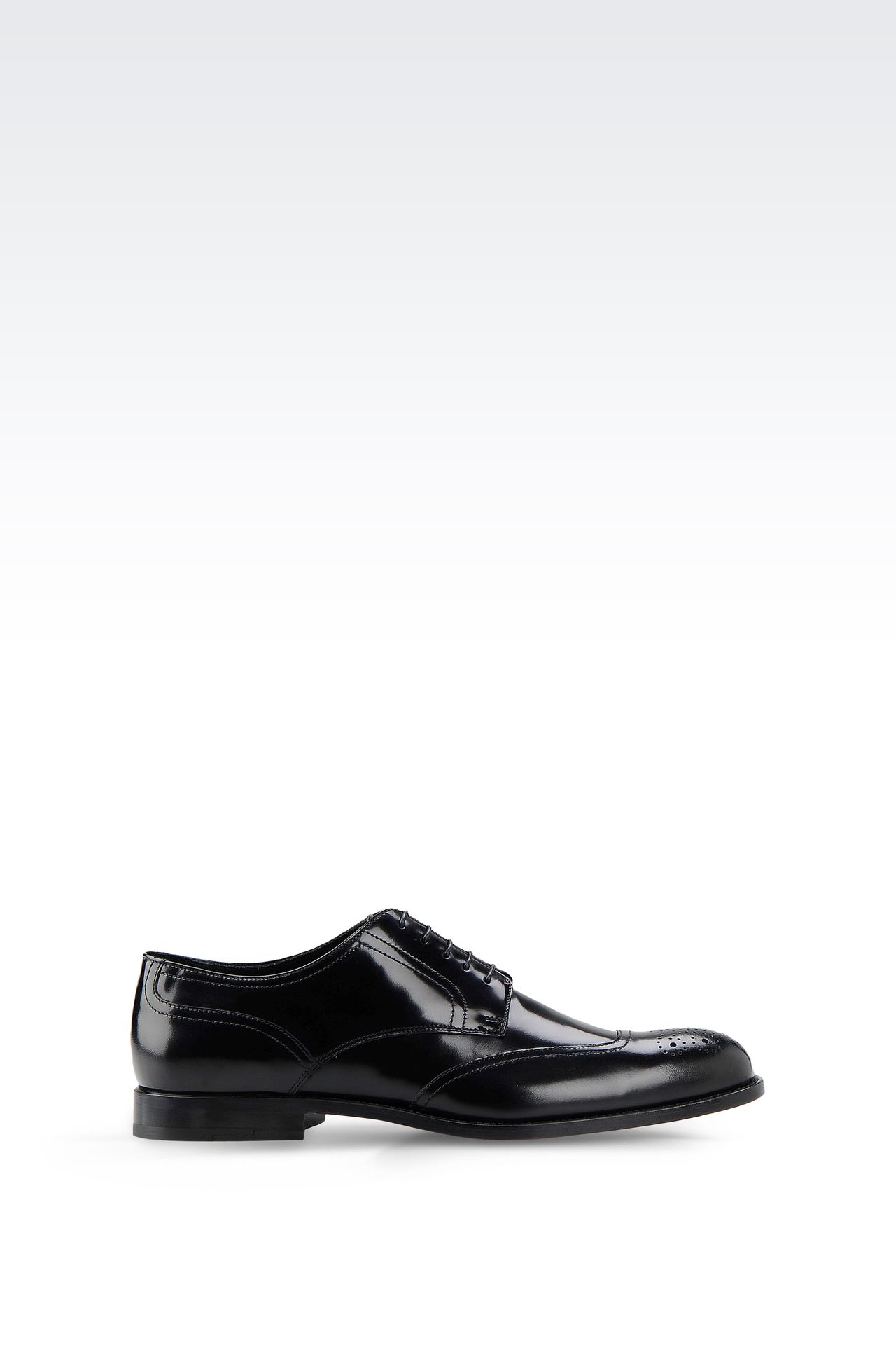 DERBY SHOE IN BRUSHED CALFSKIN WITH LASER WORK: Lace-up shoes Men by Armani - 0