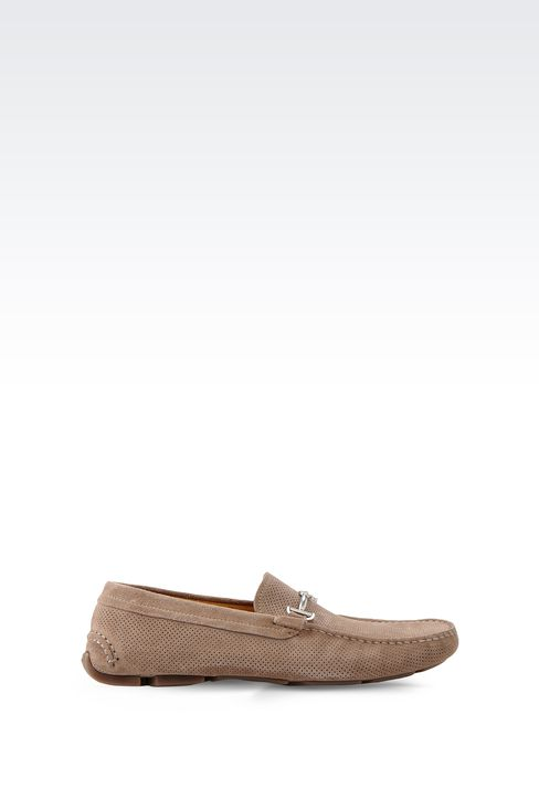 DRIVING SHOE IN MICRO PERFORATED SUEDE: Moccasins Men by Armani - 1