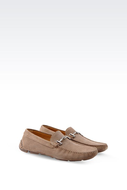 DRIVING SHOE IN MICRO PERFORATED SUEDE: Moccasins Men by Armani - 2