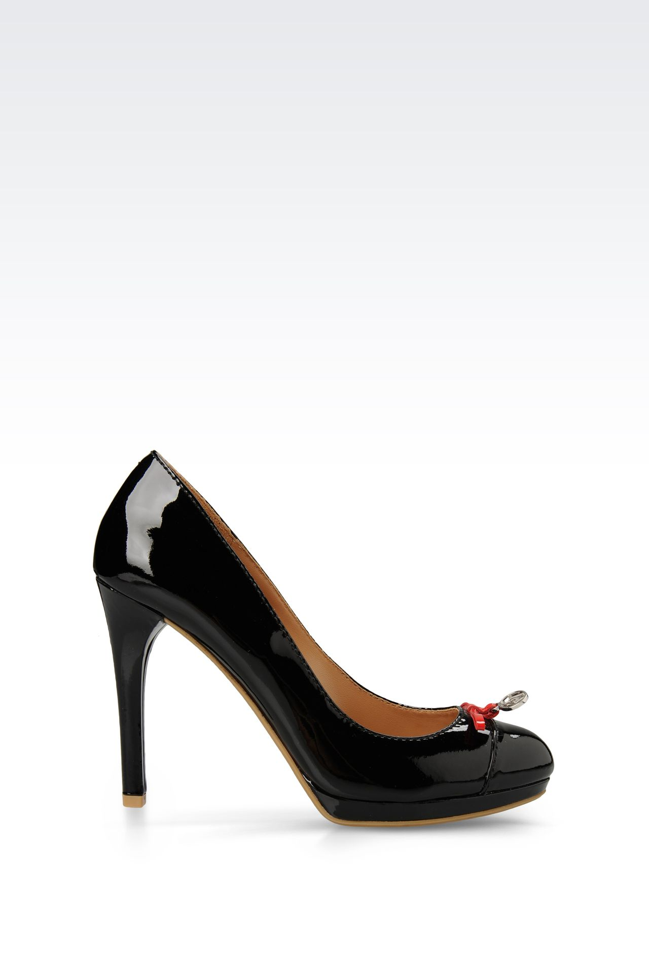 PATENT-LEATHER COURT WITH PENDANT AND BOW: Platform pumps Women by Armani - 0