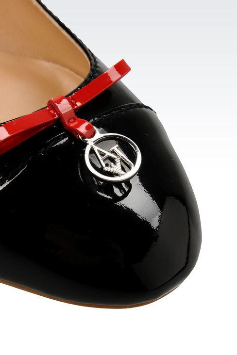 PATENT-LEATHER BALLERINA WITH LOGOED PENDANT: Ballet flats Women by Armani - 4