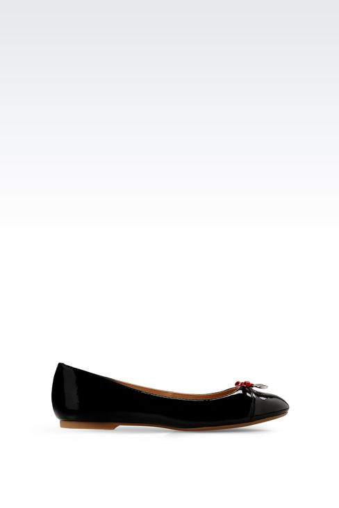 PATENT-LEATHER BALLERINA WITH LOGOED PENDANT: Ballet flats Women by Armani - 1