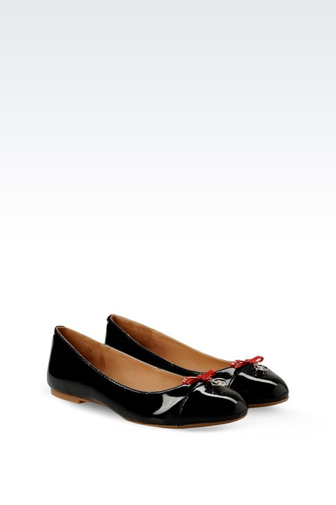 PATENT-LEATHER BALLERINA WITH LOGOED PENDANT: Ballet flats Women by Armani - 2