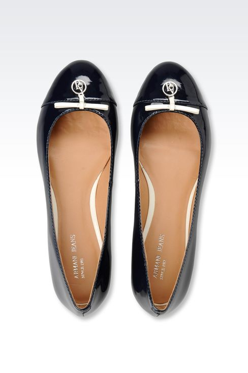 PATENT-LEATHER BALLERINA WITH LOGOED PENDANT: Ballet flats Women by Armani - 3
