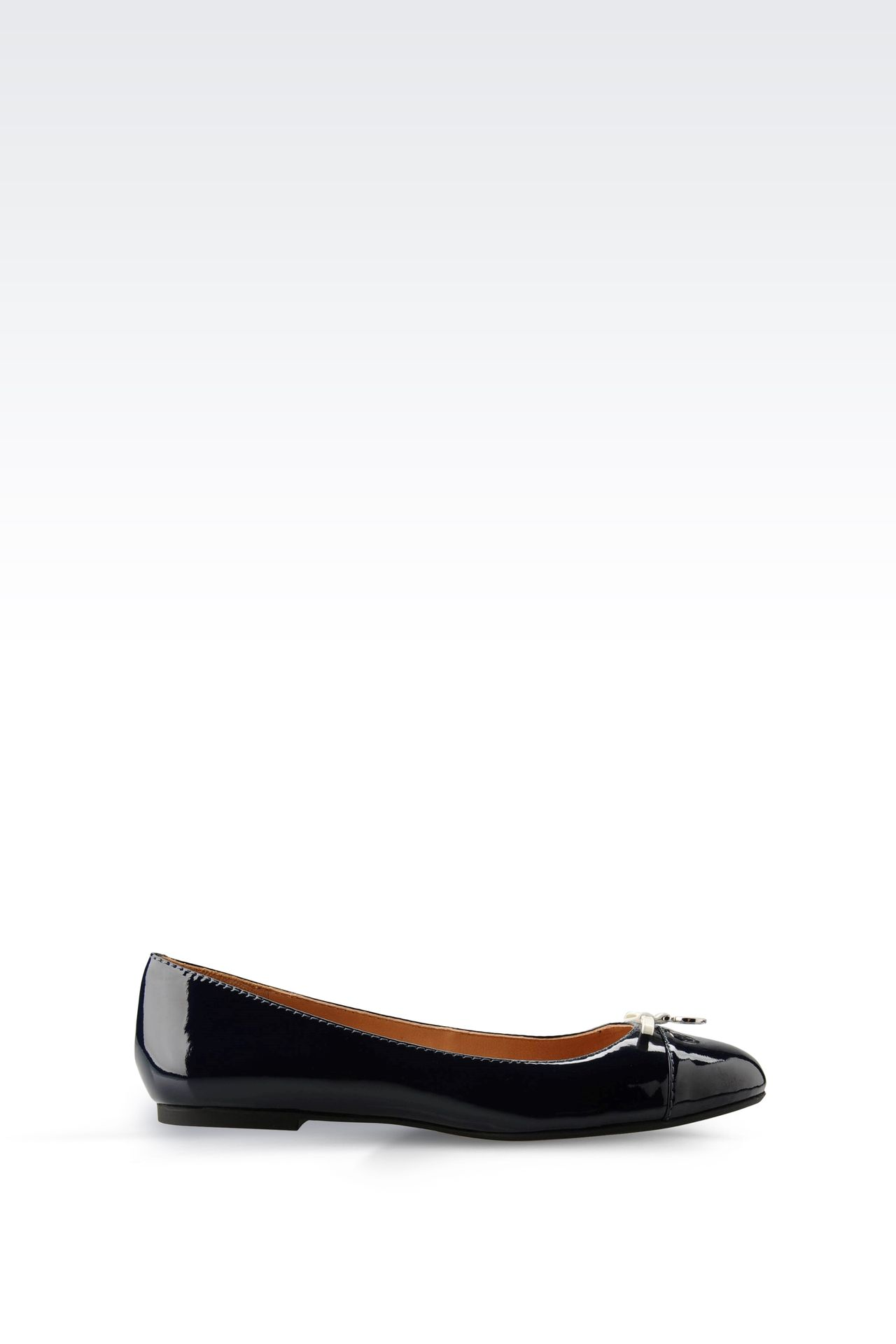PATENT-LEATHER BALLERINA WITH LOGOED PENDANT: Ballet flats Women by Armani - 0