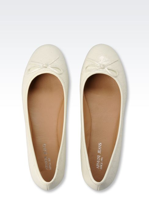 PATENT-LEATHER BALLERINA WITH ALL-OVER LOGO: Ballet flats Women by Armani - 3