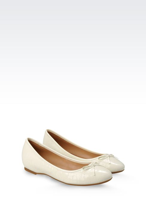 PATENT-LEATHER BALLERINA WITH ALL-OVER LOGO: Ballet flats Women by Armani - 2