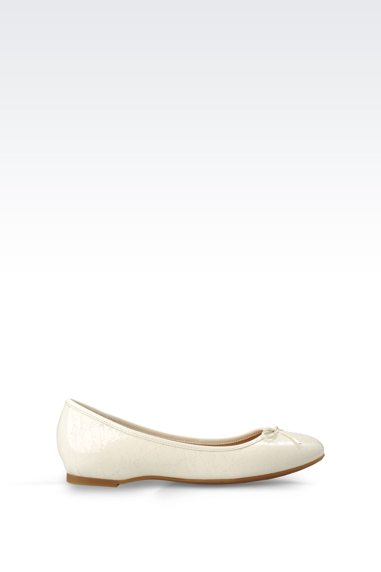 PATENT-LEATHER BALLERINA WITH ALL-OVER LOGO: Ballet flats Women by Armani - 0
