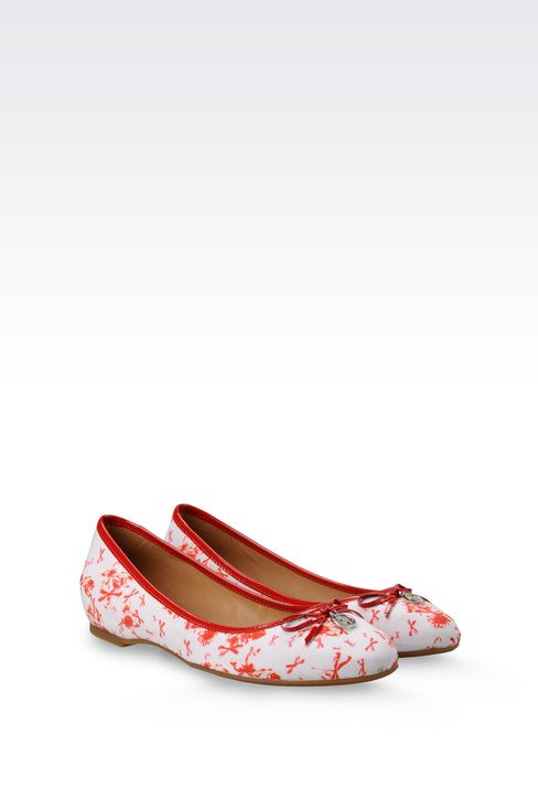 FABRIC BALLERINA WITH PATENT-LEATHER DETAIL: Ballet flats Women by Armani - 2