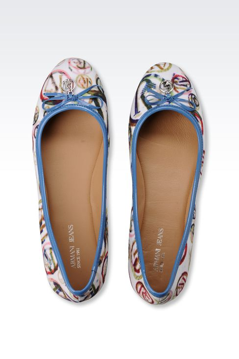 FABRIC BALLERINA WITH PATENT-LEATHER DETAIL: Ballet flats Women by Armani - 3