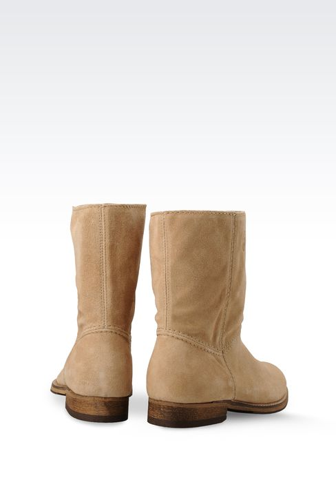 SUEDE BIKER BOOT WITH LOGO: Ankle boots Women by Armani - 3