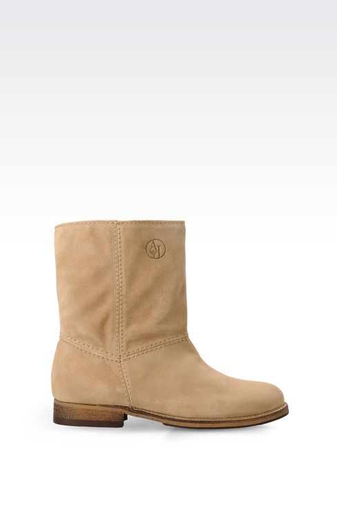 SUEDE BIKER BOOT WITH LOGO: Ankle boots Women by Armani - 1