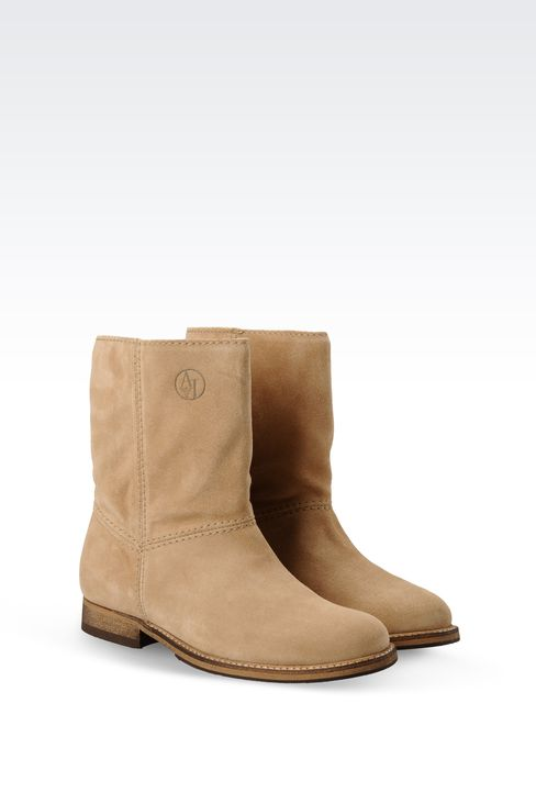 SUEDE BIKER BOOT WITH LOGO: Ankle boots Women by Armani - 2